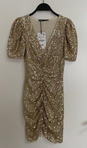 Zara Paillettenkleid Partykleid Mini Kleid mit V Ausschnitt Limited XS 34