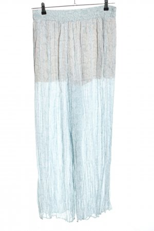 Zara Pallazzohose blau-weiß Allover-Druck Casual-Look
