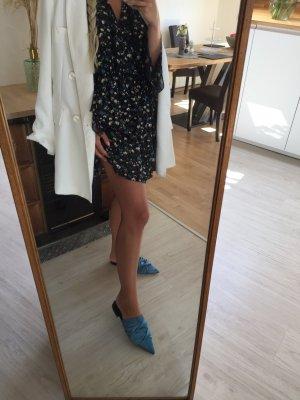 Zara pantoletten in satin blau 38
