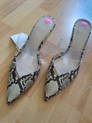 Zara Pantoletten neu gr. 38 Schlangenoptik beige schwarz stilettos high Heels