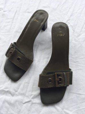 Zara Pantoletten oliv Khaki grün Gr.37