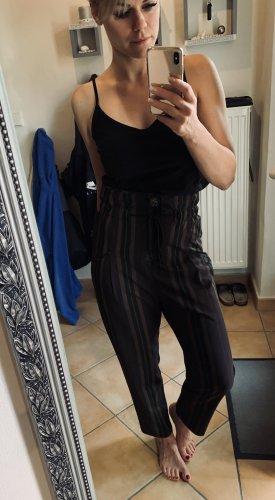 Zara Hoge taille broek zwart-bruin-paars