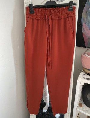 Zara Paperbag Pant Stoffhose cabernet