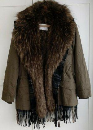 Zara Parka Fell Jacke Winterjacke Winterparka Oversized Gr. S Khaki Fransen  neuwertig
