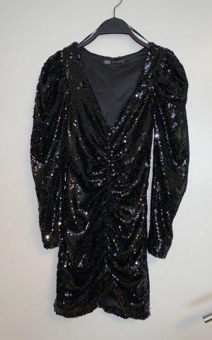 Zara Partykleid Pailletten Kleid V Ausschnitt mini XS 34