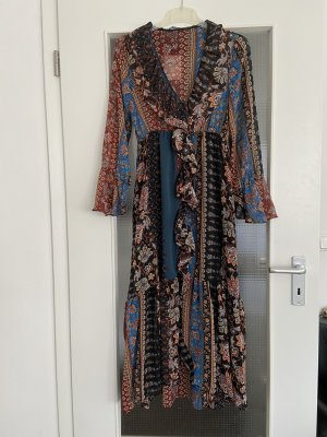Zara Patchwork Kleid mit Volant,Gr M