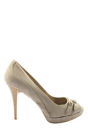 Zara Peep Toe Pumps natural white elegant