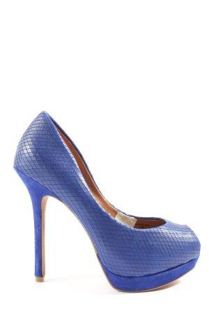Zara Peeptoe Pumps blau Allover-Druck Casual-Look