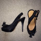 Zara Peeptoe Slingback Pumps Black