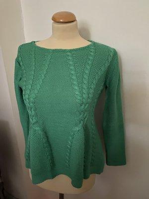 Zara Warkoczowy sweter miętowy-turkusowy