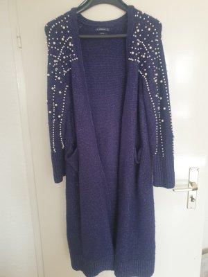 Zara Cappotto a maglia bianco-blu scuro