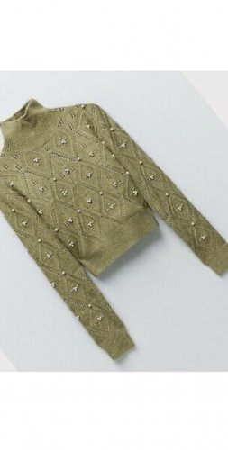 Zara Perlen Pullover grün gr xs s neu mit Etikett