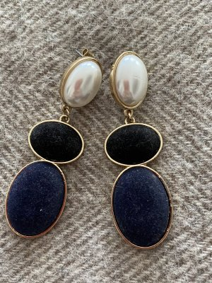 Zara Boucle d'oreille incrustée de pierres noir-bleu