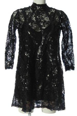 Zara Petticoatkleid schwarz-silberfarben Webmuster Elegant