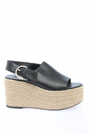 Zara Plateau-Sandalen schwarz-wollweiß Casual-Look
