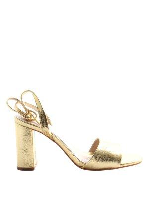 Zara Plateau-Sandalen goldfarben Elegant