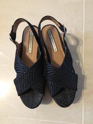 Zara Plateau Sandalen schwarz weiß braun