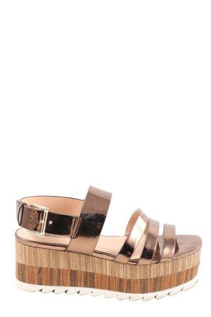 Zara Sandały na grubym obcasie brąz W stylu casual
