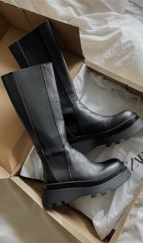 ZARA Plateau Stiefel gr 40 schwarz Leder neu mit Etikett