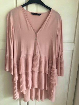 Zara Plissee Bluse rosa S 36