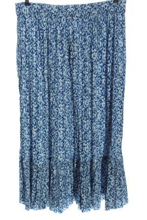 Zara Jupe plissée bleu-blanc imprimé allover style décontracté