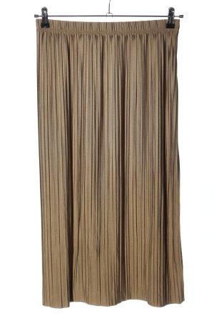 Zara Plisseerock bronzefarben Streifenmuster Casual-Look
