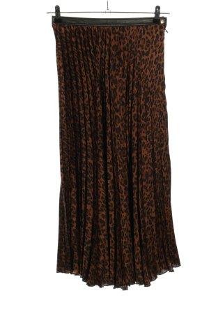 Zara Jupe plissée brun-noir imprimé allover style décontracté