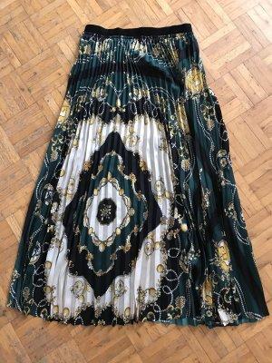 Zara Pleated Skirt dark green-yellow