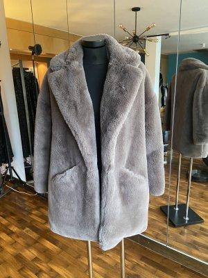 Zara Veste en fourrure vieux rose-gris brun