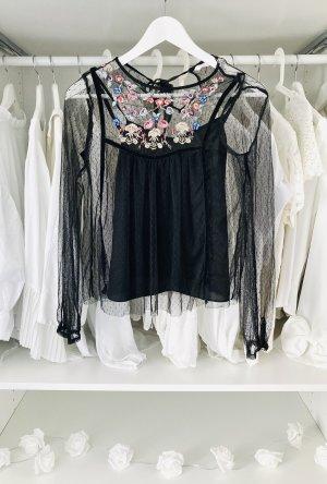 Zara Plumetis mesh Bluse mit stickerei