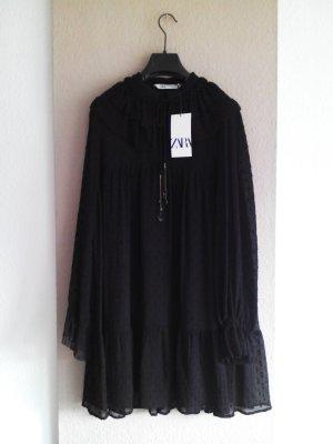 Zara Plumetis Minikleid in schwarz, Grösse S, neu