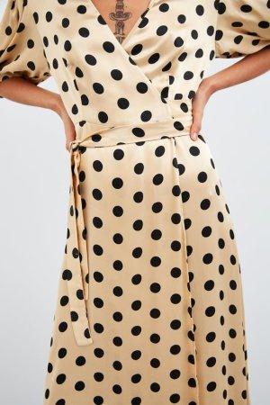 Zara Polka Dot K´Maxi Kleid nagelneu nude Gr. S begehrt Blogger