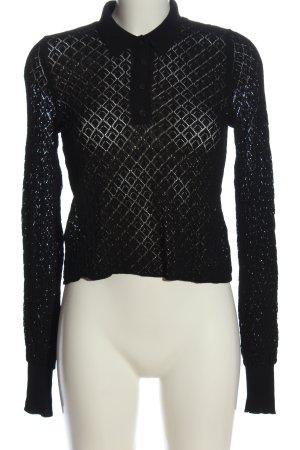 Zara Polo noir Motif de tissage style décontracté