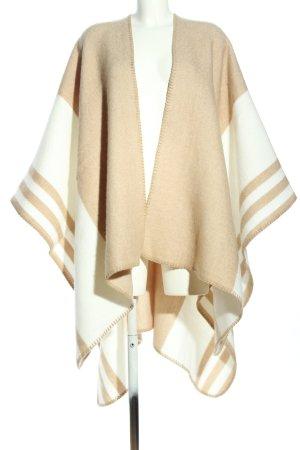 Zara Poncho creme-nude Streifenmuster Casual-Look