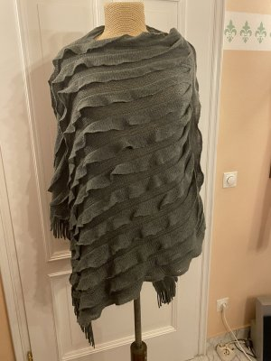 Zara Knit Poncho en tricot gris foncé laine