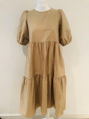 Zara Popelin Kleid beige Stufenrock Gr. L Neu mit Etikett