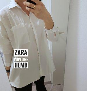 Zara Camisa de manga larga blanco