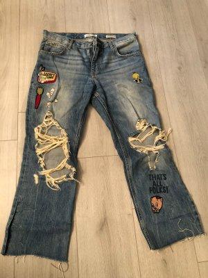 Zara Basic Workowate jeansy niebieski