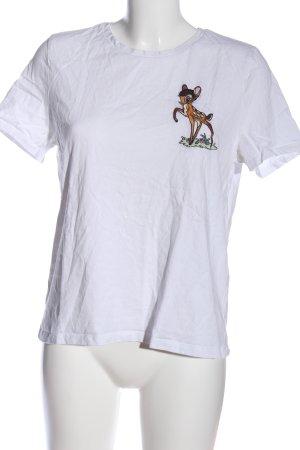 Zara Print-Shirt weiß Motivdruck Casual-Look