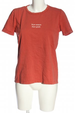 Zara Print-Shirt hellorange Schriftzug gedruckt Casual-Look