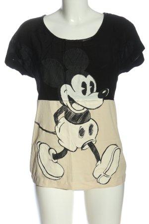Zara Print-Shirt schwarz-creme Motivdruck Casual-Look