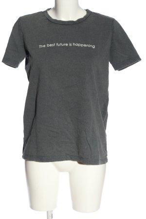 Zara Print-Shirt hellgrau Schriftzug gedruckt Casual-Look