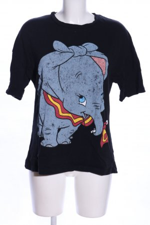 Zara Print-Shirt schwarz-blau Motivdruck Casual-Look