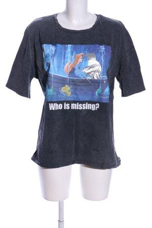 Zara Print-Shirt hellgrau-blau Motivdruck Casual-Look