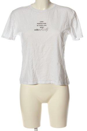 Zara Print-Shirt weiß Schriftzug gedruckt Casual-Look