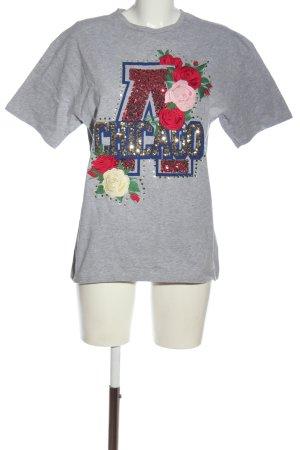 Zara Print-Shirt hellgrau meliert Casual-Look