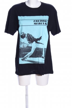 Zara Print-Shirt schwarz-türkis Motivdruck Casual-Look