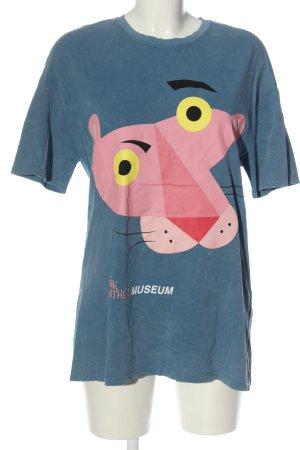 Zara Print-Shirt blau Motivdruck Casual-Look