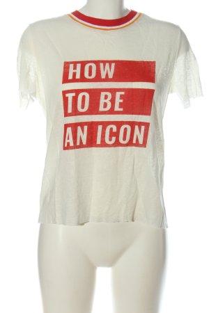 Zara Print-Shirt weiß-rot Schriftzug gedruckt Casual-Look