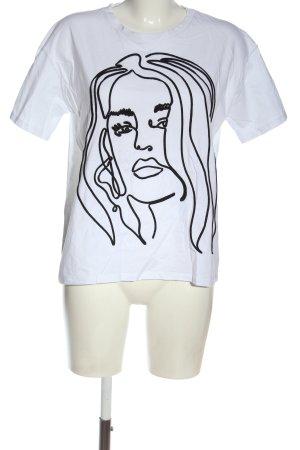 Zara Print-Shirt weiß-schwarz Motivdruck Casual-Look